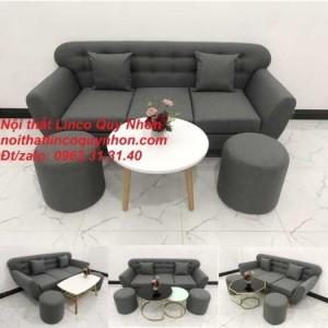 Set ghế sofa băng BgTC02 xám lông chuột, xám đen vải bố