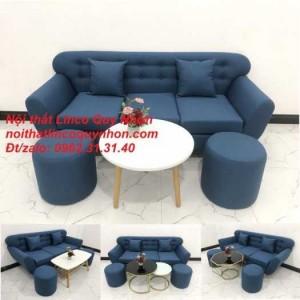 Bộ bàn ghế sofa băng BgTC03 xanh dương da trời vải bố