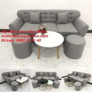Sofa băng | Bộ ghế sofa băng BgTC04 xám trắng xám ghi | Nội thất Linco Quy Nhơn