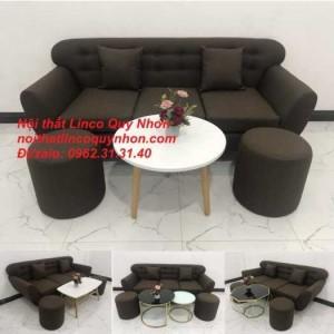 Sofa băng | Bộ ghế sofa băng BgTC05 màu nâu cafe đậm | Nội thất Linco Quy Nhơn