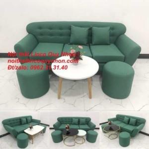 Sofa băng | Bộ ghế sofa băng BgTC05 xanh ngọc vải bố | Nội thất Linco Quy Nhơn