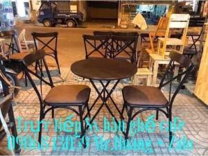 Bàn ghế cafe gỗ nệm giá tốt Nội Thất Nguyễn Hoàng