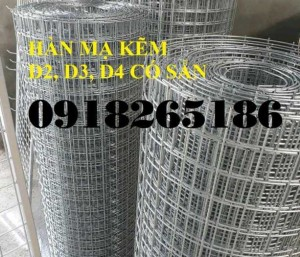 Lưới D3 ô 50x50, Lưới mạ kẽm khổ 1m, 1,2m, 1,5m