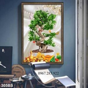 Tranh trang trí 3D hoạ tiết cây bonsai cao cấp