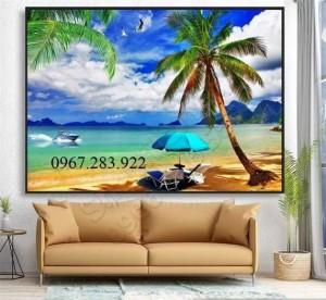 Tranh phong cảnh Biển xanh ốp tường phòng khách