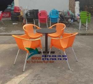Ghế cafe nhựa bành chân nhôm hàng cty giá tốt GVĐ029