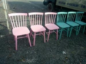 Ghế gỗ cafe song tiện sơn màu VĐ038