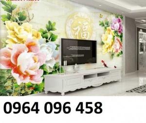 Tranh gạch 3d hoa mẫu đơn - SJJ09