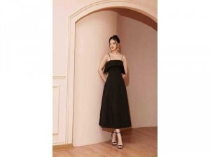 Đầm váy nữ midi xòe 2 dây đen TKN