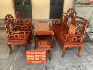 Bộ bàn ghế giả cổ kiểu móc mỏ gỗ hương đỏ lào