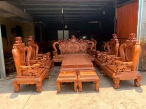 Bộ bàn ghế phòng khách nghê đỉnh tay 14 gỗ hương đá