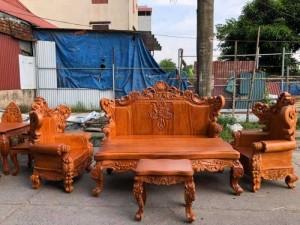 Bộ bàn ghế tân cổ điển hoàng gia gỗ gõ đỏ víp