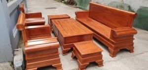 Bộ bàn ghế giả cổ kiểu pháo gỗ gõ đỏ