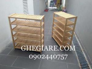 Kệ dép gỗ cao su 6 tầng 80cm cao 100cm