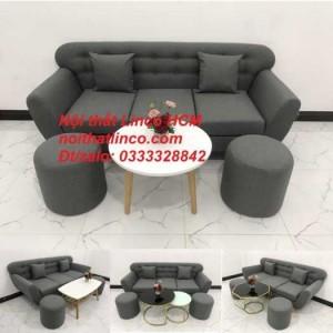 Sofa băng BgTC02 | Sofa băng màu xám lông chuột, xám đậm, xám đen, xám than | Sofa văng dài 1m9 vải bố | Nội thất Linco HCM