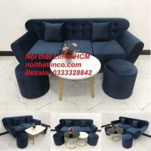 Sofa băng BgTC04 | Sofa băng giá rẻ | Ghế sofa băng xanh đậm vải nhung Nội thất Linco HCM