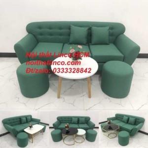 Sofa băng BgTC06 | Sofa màu xanh ngọc vải bố | Ghế sofa băng giá rẻ Nội thất Linco HCM Tphcm Gò Vấp
