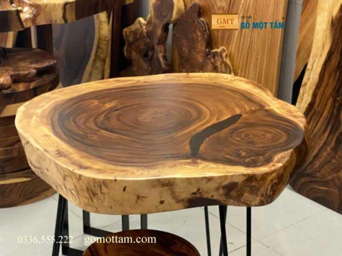 Bàn tròn gỗ me tây nguyên tấm làm bàn trà hoặc sofa