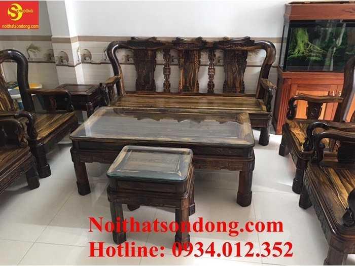 Bộ ghế gỗ Mun sọc quý hiếm chạm đơn giản