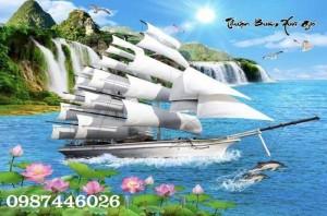 Tranh gạch thuyền buồm, gach 3d, tranh ốp tường HP795