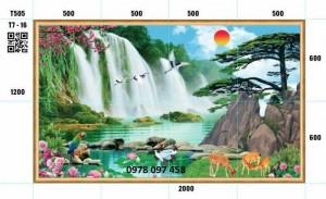 Tranh phong cảnh thác nước- tranh gạch