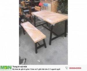 Bộ bàn ăn giả rẻ gồm 1 bàn và 1 ghế dài cho 2-3 người ngồi