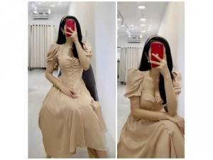 Đầm váy nữ nhíu ngực tay bồng phối nút 2