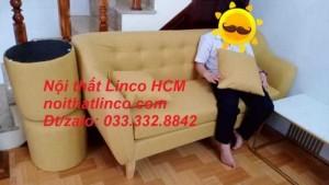Bộ ghế sofa dài 1m7, sofa băng màu vàng vải nhỏ gọn giá rẻ | Nội thất Linco HCM Tphcm Hồ chí minh Biên hòa nhơn trạch long thành đồng nai