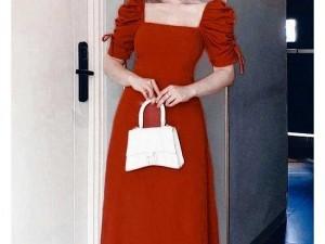 Đầm váy nữ đỏ xòe cổ vuông tay phồng rút