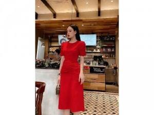 Đầm váy nữ đỏ midi nhún thân TKN