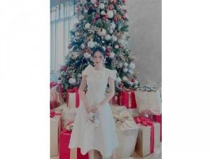 Đầm váy nữ gấm tay con phối nơ TKN