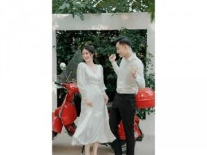 Đầm váy nữ maxi trắng dài tay viền ren T