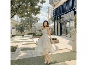 Đầm váy nữ trắng 2 dây tầng TKN