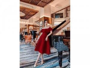 Đầm váy nữ xòe bẹt vai bèo có 3 màu TKN