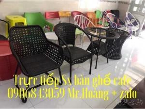 Bàn ghế cafe nhựa giả mây giá sỉ - Nội Thất Nguyễn hoàng