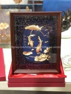 Tranh cá chép hoa sen mạ vàng 24k,quà tặng tết 2021
