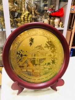 Đĩa quà tặng chùa Một Cột đường kính 23cm