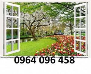 Tranh cửa sổ - gạch tranh 3d cửa sổ - DK09
