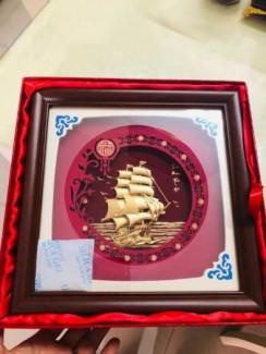 Tranh thuyền buồm cao 24cm mạ vàng cao cấp,quà tặng tết 2020
