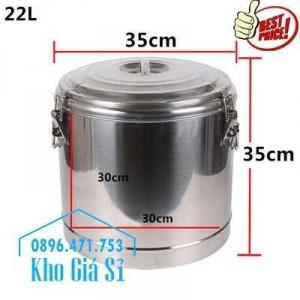 Cung cấp thùng inox 2 lớp giữ nhiệt 20 lít đựng cơm canh nóng