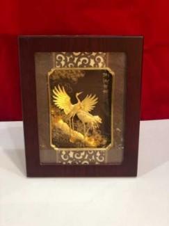 Tranh uyên ương dát vàng cao 32cm ,quà tặng ngày cưới