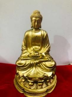 Tượng Phật Thích Ca bằng đồng vàng cao 45cm