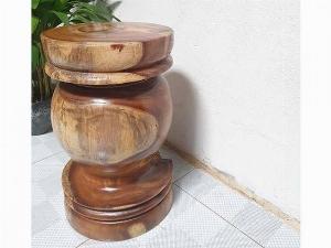 Đôn Gỗ Me Tây Tiện Tròn 03 ( D 31cm X Cao 49cm )
