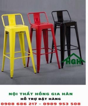Ghế quầy bar chân cao có lưng tựa Hồng Gia Hân