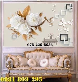 Tranh gạch men 3d ốp phòng khách - gạch tranh 3d hoa ngọc