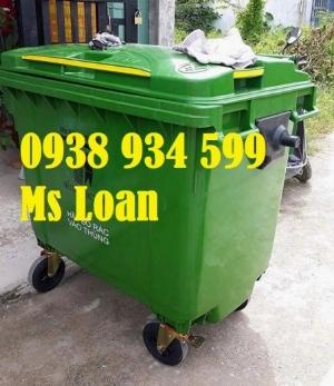 Xe thu gom rác 660 lít 4 bánh xe nhựa hpde, thùng rác nhựa 660 lít
