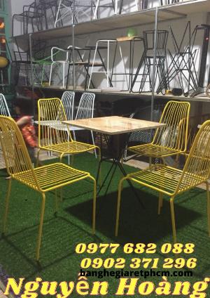 Bộ Bàn ghế tăm,bàn gỗ 4 ghế sắt sơn tĩnh điện