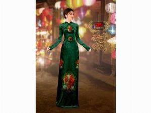 Vải áo dài nhung đính đá 9195-28 của vải áo dài Kim Ngọc