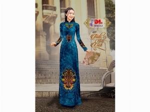 Vải áo dài nhung đính đá 9194-14-8 của vải áo dài Kim Ngọc