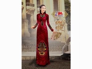 Vải áo dài nhung đính đá 9194-76-8 của vải áo dài Kim Ngọc